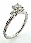 14KW engagement ring by Sylvie Collection set with: - 0.50ct CZ - 0.39cttw RBC diamonds; G/H; VS-SI