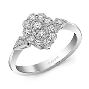 14K white gold diamond dinner ring; set with fourteen G-H SI1 very good cut round brilliant cut diamonds; totaling 0.33 carats.