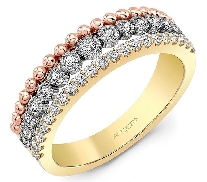 14K W/Y/R gold dinner ring set with: 6*=0.05cttw 21*=0.22cttw 9*=0.14cttw