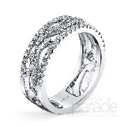 18 karat white gold band; part of the Charities Collection by Parade Designs.  Set with 75 very good cut diamonds; 0.55 carat total weight; G/H; SI.