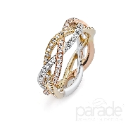 18KWYR ladies diamond dinner ring by Parade Design set with: - 68 round brilliant cut diamonds; 0.39cttw; G/H; SI