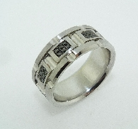 14 karat white gold men s wedding band. Accented with 48 black diamonds; 0.50 carat total weight.