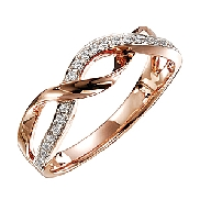 14K Rose gold ladies diamond band set with 26 diamonds totalling 0.12 carats