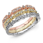 14K rose gold band set with:  - 16*=0.08cttw - 3*=0.03cttw