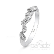 18 karat white gold band; part of the Lyria Bridal Collection by Parade Designs. Accented with 5 very good cut diamonds; 0.06 carat total weight; SI; G/H.