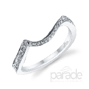 18 karat white gold wedding bands; part of the Hemera Bridal Collection by Parade Designs. Accented with 10 very good cut diamonds; 0.10 carat total weight; G/H; SI. Accented with 13 very good cut diamonds; 0.06 carat total weight; G/H; SI.