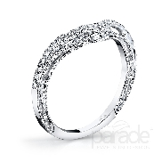 18 karat white gold wedding band; part of the Hera Bridal Collection by Parade Designs. Set with 27 very good cut diamonds; 0.21 carat total weight; G/H; SI.