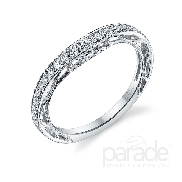 18 karat white gold wedding band; part of the Hera Bridal Collection by Parade Designs. Accented with 25 very good cut diamonds; 0.27 carat total weight; G/H; SI.