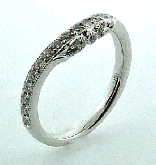 18KW diamond wedding band to match R3727 by Parade Designs set with: - 27 round brilliant cut diamonds; 0.31 cttw; G/H; SI