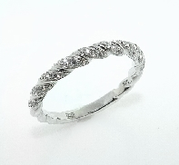 14KW wedding band by Frederic Sage set with: - 45 RBC diamonds; 0.23cttw