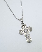 Diamond Cross Pendant by Natalie K  30=0.09cttw H-I I round brilliant cut diamonds 16   Chain 14K White Gold