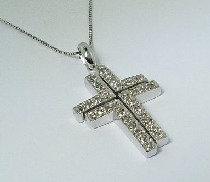 Diamond Cross Pendant by Natalie K  20=0.28cttw I H-I round brilliant cut diamonds 16   Box Chain 14K White Gold