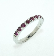 14K white gold ring set with 9*=0.049cttw rubies