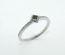14K white gold stackable ladies ring set with one 0.078ct Alexandrite