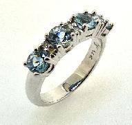 14K White Gold Ladies Ring TSR-694 4*=0.87cttw Aquamarines Round Cut 6*=0.106cttw Round Diamonds SI2/I1