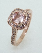 14K rose gold halo ring 0.478ct Padparadscha Sapphire 36=0.20cttw Natural Fancy Pink Diamonds SI2/I1