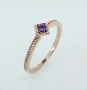 14K rose gold Amethyst ring TSR-700BSQ