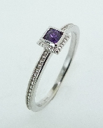 14K white gold Amethyst ring TSR-700SQ