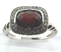 Lady s Ring Garnet=2.10 carat 28 diamonds=0.14cttw  14k White Gold