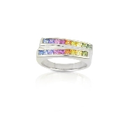 14 karat white gold coloured gemstone ring by Rainbow Sapphire. Set with 19 Sapphires; 1.10 carat total weight; 2mm each.