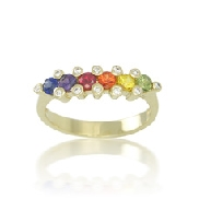 14 karat white gold coloured gemstone ring by Rainbow Sapphire. Set with 6 multi-coloured sapphires; 0.80 carat total weight. Accented with 12 diamonds; 0.09 carat total weight.