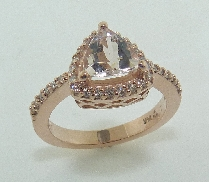 14K rose gold ring set with:  - 0.94ct morganite - 33*-0.182cttw diamonds