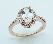 14KR CG lady s ring set with: - 1.235ct Morganite  - 0.225 cttw diamonds