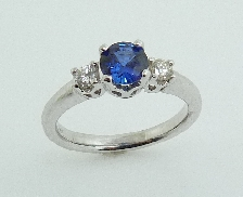 14K white gold ring set with: - 2*=0.18cttw SI; H/I - 0.744ct Sapphire (e63809)