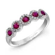 14K white gold ladies band set with: -5 rubies totalling 0.48 carats -59 diamonds totalling 0.18 carats