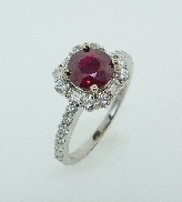 14K white gold ring 1.25ct Ruby 4=0.18cttw Baguettes 20=0.50cttw RBC Diamonds G/H SI VG cut