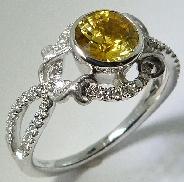 18K white gold Lyria Bridal 54* = 0.27ctw 1.08ct Yellow Sapphire size 6