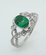 18K White gold 54*= 0.27ctw 0.84ct green tourmaline Lyria Bridal size 6