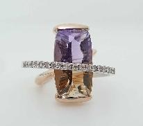 14KWR CG ring by Studio Tzela set with: - 8.98ct concave cut; antique cushion Ametrine  - 18 RBC diamonds; 0.20cttw; H/I; SI2