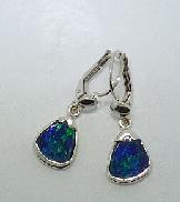 14 karat white gold earrings by Studio Tzela set with Boulder Opals