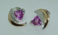14 karat white and yellow earrings with locking backs by Studio Tzela set with: - 2 - 1.61 cttw pink sapphires