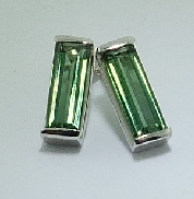14 karat and 18 karat white gold coloured gemstone earrings.  Set with Green Tourmaline; 5.21 carat total weight.