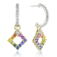 14 karat white gold coloured gemstone earring by Rainbow Sapphire. Set with round; multi-coloured Sapphires; 1.00 carat total weight. Accented with round diamonds; 0.01 carat total weight.