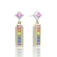 14 karat white gold coloured gemstone earrings by Rainbow Sapphire. Set with 14 Princess cut multi-coloured Sapphires; 1.10 carat total weight; 3mm and 2mm.
