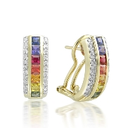 14 karat white gold coloured gemstone earrings by Rainbow Sapphire. Set with 14 princess cut Sapphires; 1.40 carat total weight; 2.5mm. Accented with 44 diamonds; 0.28 carat total weight.
