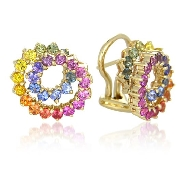 14 karat white gold coloured gemstone earrings by Rainbow Sapphire. Set with 54 diamond-cut round; multi-coloured Sapphires; 2.50 carat total weight; 2mm.