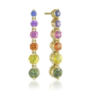 14 karat yellow gold coloured gemstone earrings by Rainbow Sapphire. Set with intense coloured Sapphires; 1.65 carat total weight; 2.25-3.75mm.