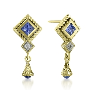 14 karat white gold hand engraved earrings. Set with 2 princess cut and 2 Cabochon Blue Sapphires; 0.90 carat total weight Accented with 2 round brilliant cut Diamonds; 0.07 carat total weight; SI1-SI2; G/H.