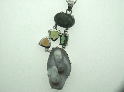 14K White gold pendant set with one 4.91ct labradorite; two cabochon (citrine & peridot); one 0.987ct green tourmaline and fresh water blister gray pearl. Design by Studio Tzela