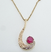 14K yellow gold pendant set with:  - 5*- .09ct SI1-2  - 1.26ct Ruby