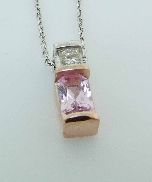 14K rose gold pendant 0.613ct radiant cut pink Sapphire 0.106ct square shaped diamond I1 clarity H colour