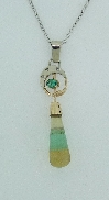 14KYW CG pendant by Studio Tzela set with: - Agate briollette - 0.20ct emerald  - 3 RBC diamonds; 0.02cttw; SI2/I1