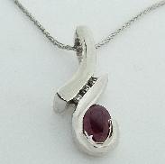 14K white gold pendant 0.534ct Ruby Excellent Quality 3=0.042cttw diamonds SI1-2 H