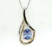14KW Studio Tzela CG pendant set with: - 1.37ct sapphire
