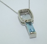 14K white gold pendant set with Druzy Agate (silicon dioxide treated) and 1.127 carat Aquamarine. Design by Studio Tzela
