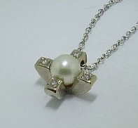 14KW Pearl and Diamond Pendant 4=.08ct SI/I